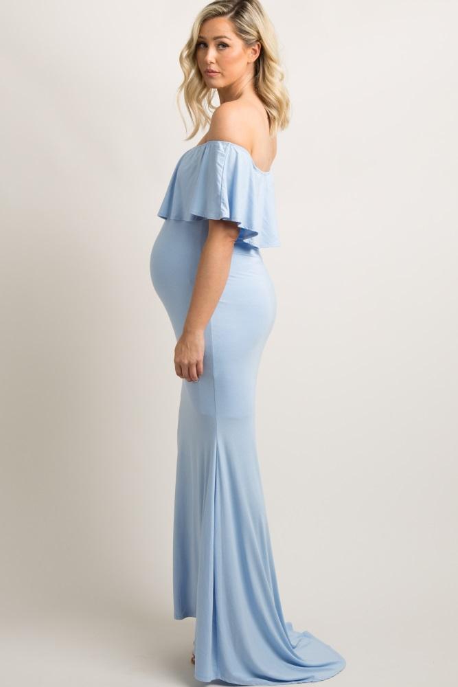 a563e9ed6b9 Blue Ruffle Off Shoulder Mermaid Maternity Photoshoot Gown Dress