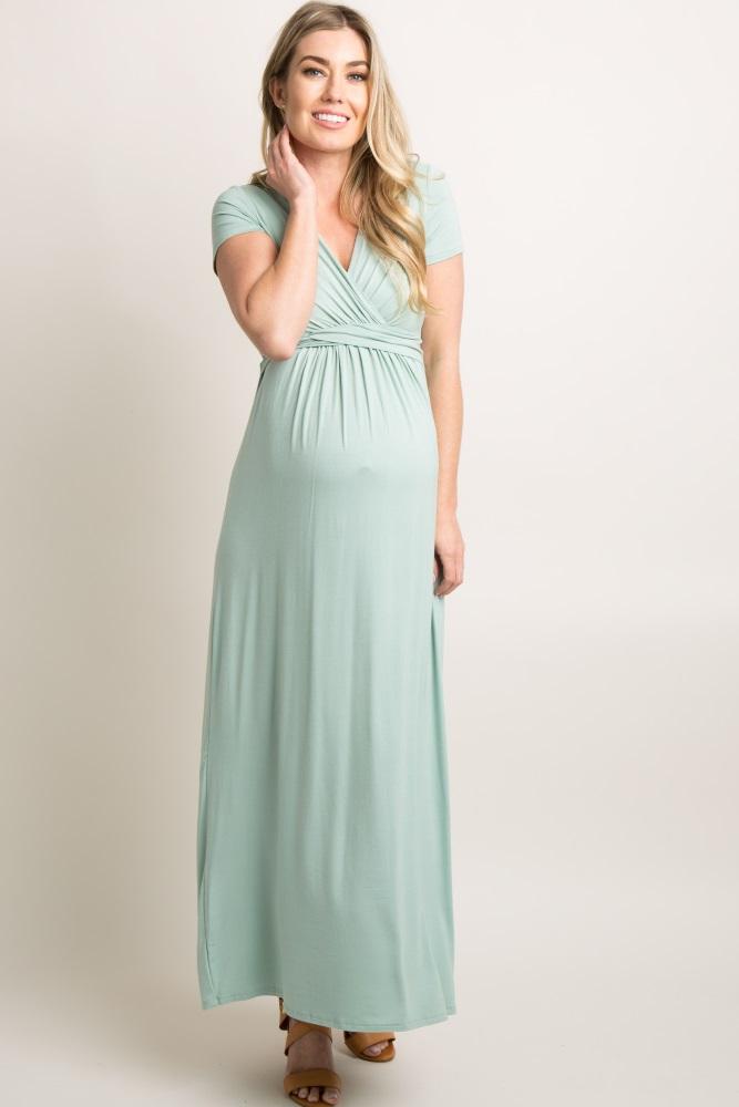 pinkblush petite light olive draped maternity/nursing maxi dress