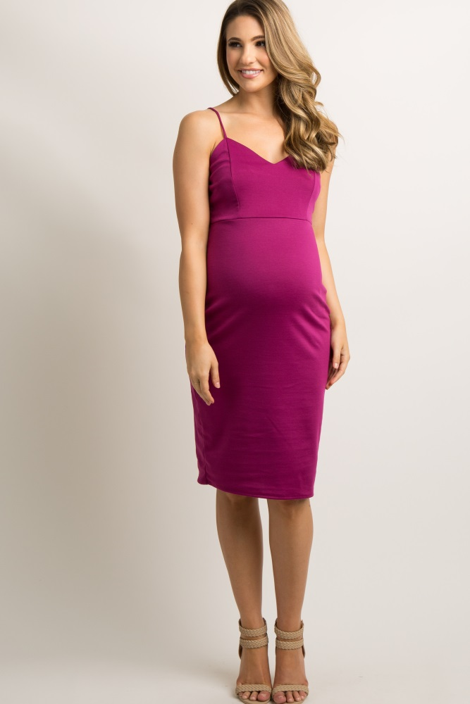 5d3798cedbd91 Magenta Sweetheart Fitted Maternity Cami Dress