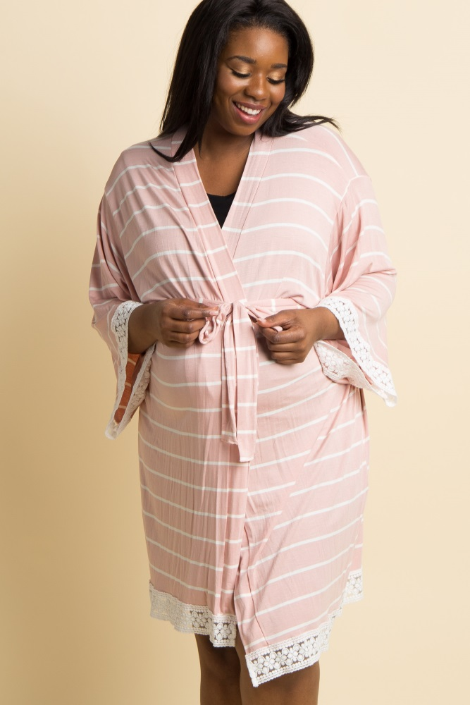light pink striped lace trim delivery/nursing maternity plus robe