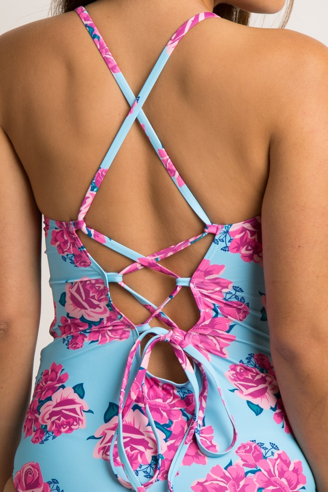 3c2098f81cec8 Light Blue Rose Floral Lace Up Back One Piece Maternity Swimsuit