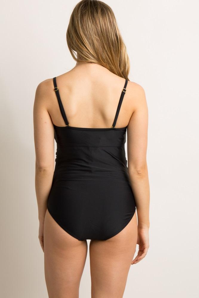 02137b9d35cd6 Black Mesh Panel One Piece Maternity Swimsuit