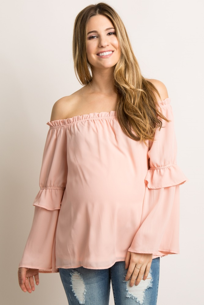 64476dfed73 Pink Chiffon Off Shoulder Maternity Top