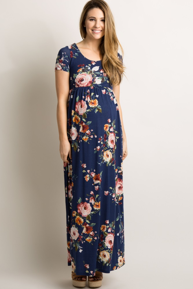 4dc515e1b82ed Navy Blue Floral Short Sleeve Maternity Maxi Dress