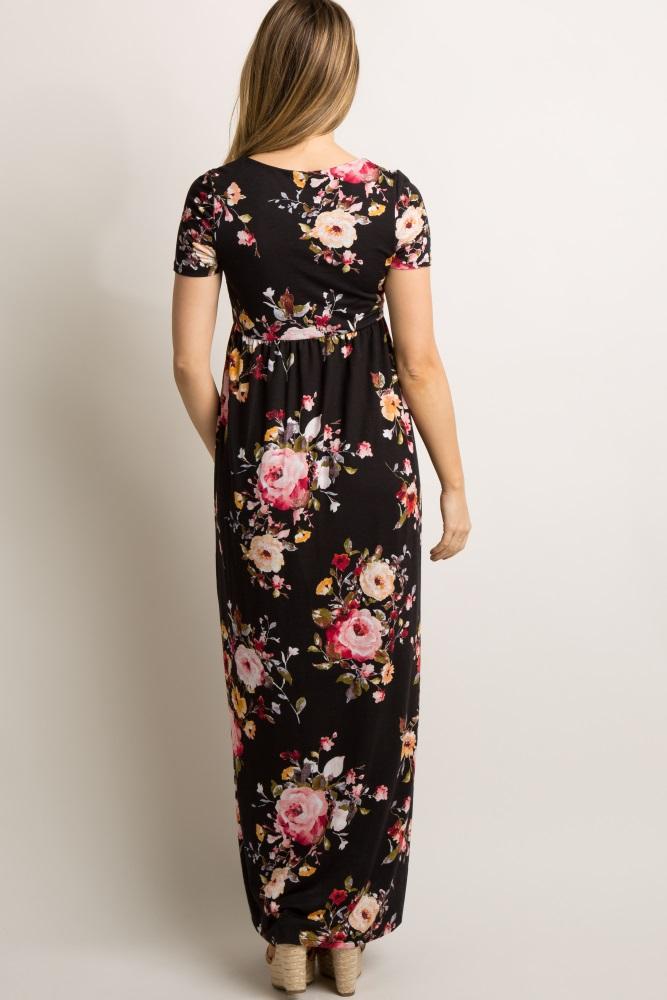 9948b0b9b67a9 Black Floral Short Sleeve Maternity Maxi Dress
