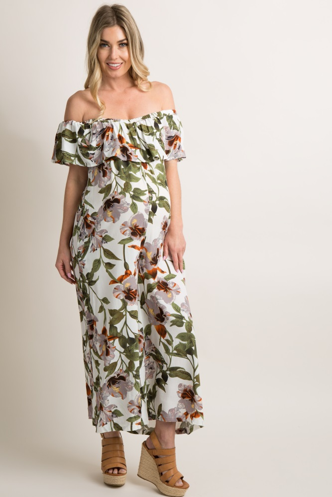 b69a80530ced9 White Floral Off Shoulder Ruffle Trim Maternity Jumpsuit
