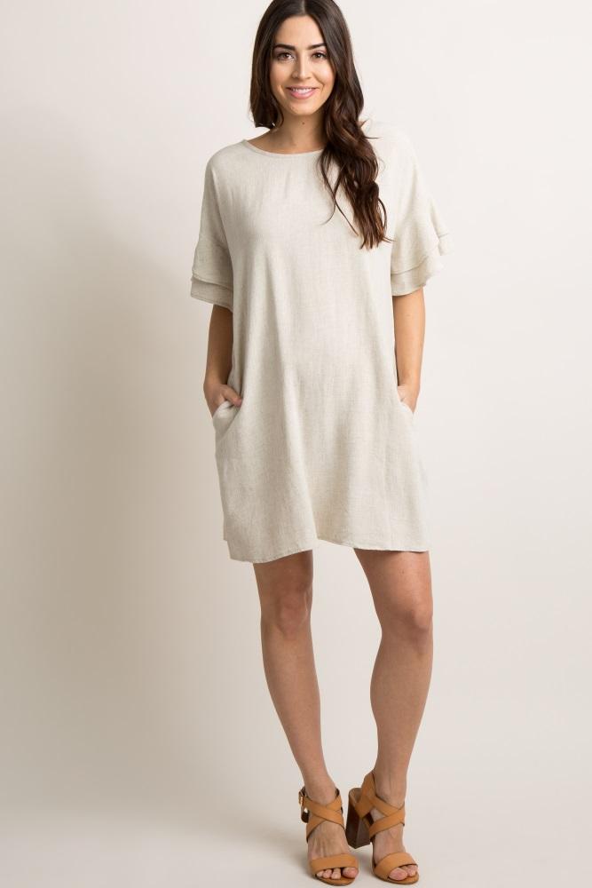 2220e3b7d0cc Beige Linen Flounce Sleeve Maternity Shift Dress