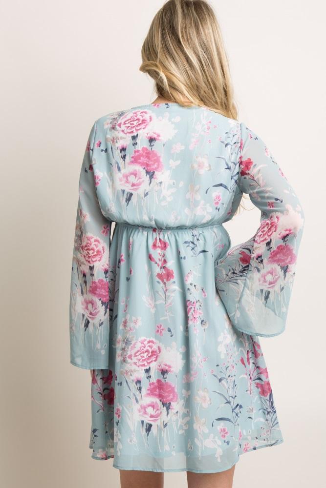 6a5db1d8beb0c Light Blue Floral Chiffon Maternity Wrap Dress