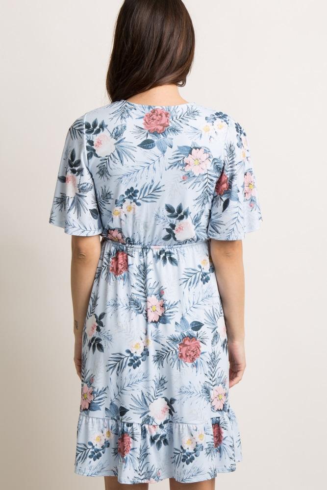 dea3f0a775558 Light Blue Floral Ruffle Trim Wrap Maternity Dress