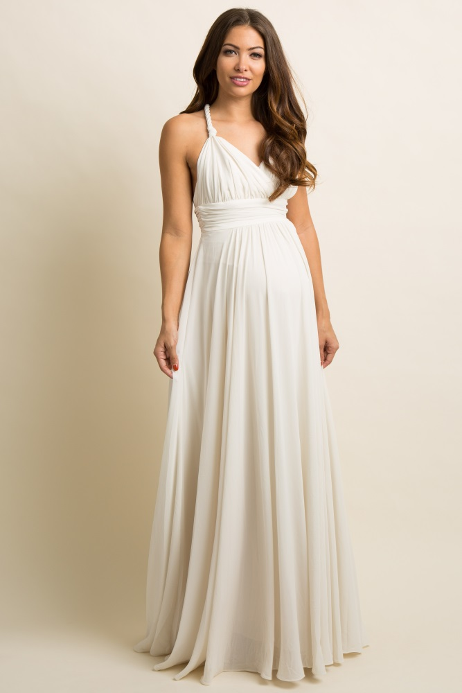 faccaebb4ac Ivory Chiffon Halter Tie Back Maternity Evening Gown