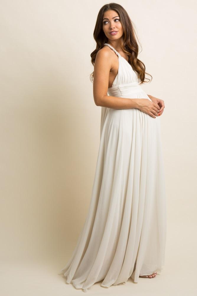 6621aa7efc4b7 Ivory Chiffon Halter Tie Back Maternity Evening Gown