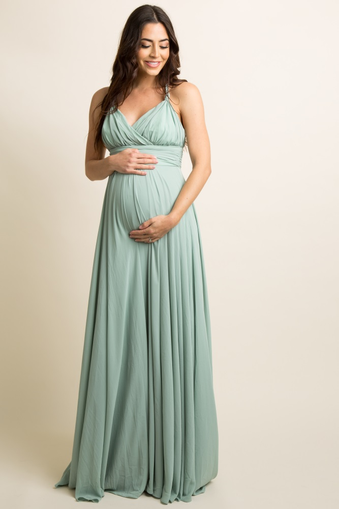 a1cf1f6c09d7b Mint Green Chiffon Halter Tie Back Maternity Evening Gown