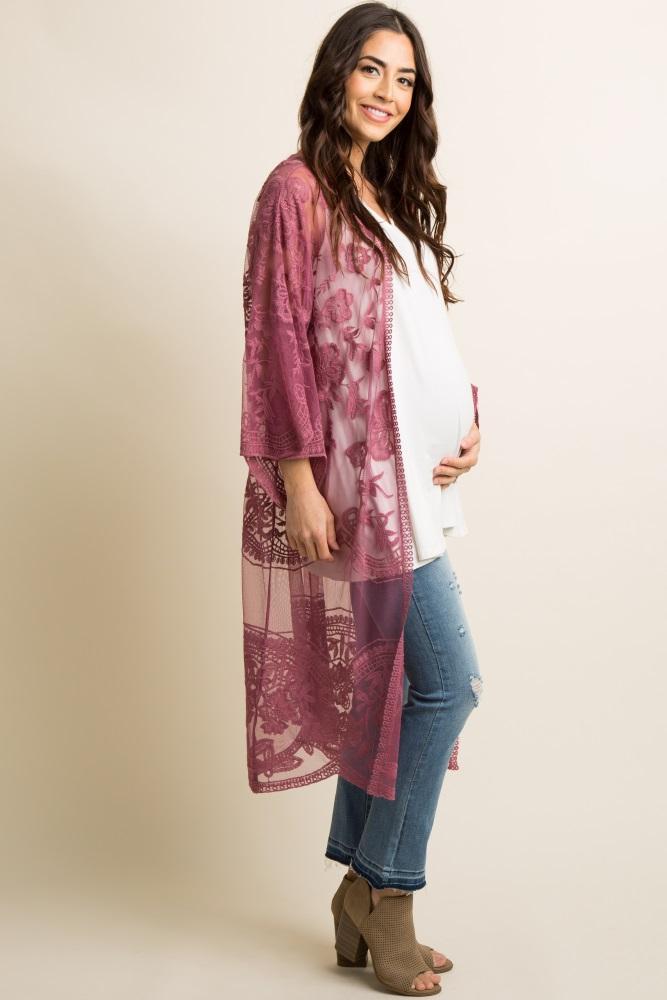 76e77d77ce29f Mauve Lace Mesh Long Maternity Kimono