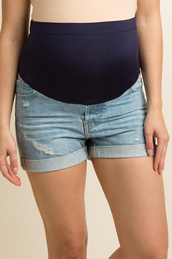11760bb5d8 Light Blue Distressed Cuffed Maternity Denim Shorts