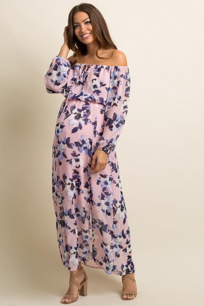 50a03140b99 Mauve Floral Chiffon Off Shoulder Maternity Maxi Dress