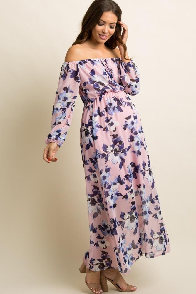 c73b603c47080 Mauve Floral Chiffon Off Shoulder Maternity Maxi Dress
