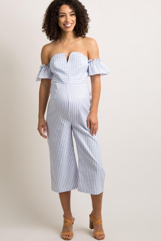 f54a09539b4e Light Blue Pinstriped Ruffle Trim Cropped Maternity Jumpsuit