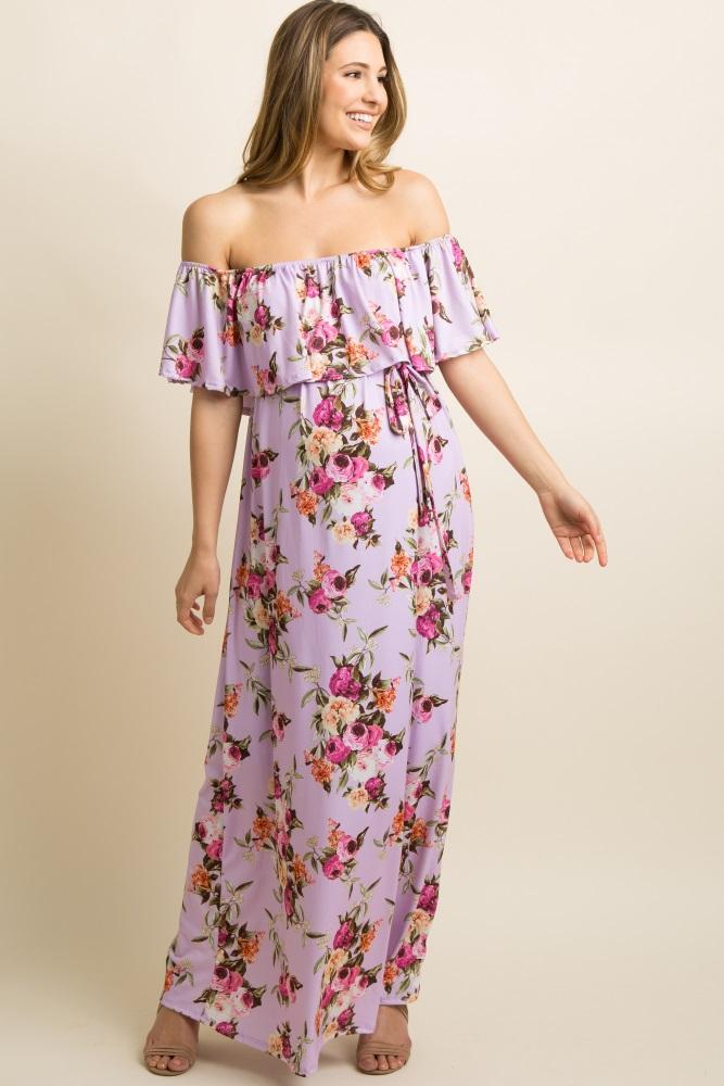 5cb2d2fb4b492 Lavender Floral Ruffle Off Shoulder Maternity Maxi Dress