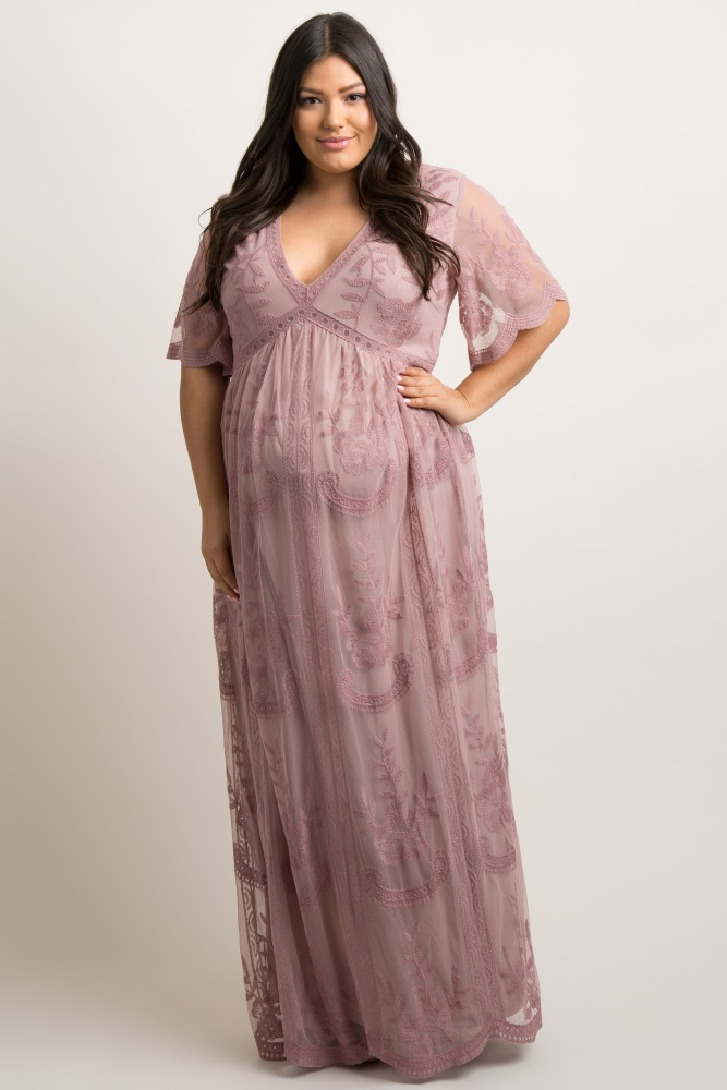 b27200ffb203c Mauve Lace Mesh Overlay Plus Maternity Maxi Dress