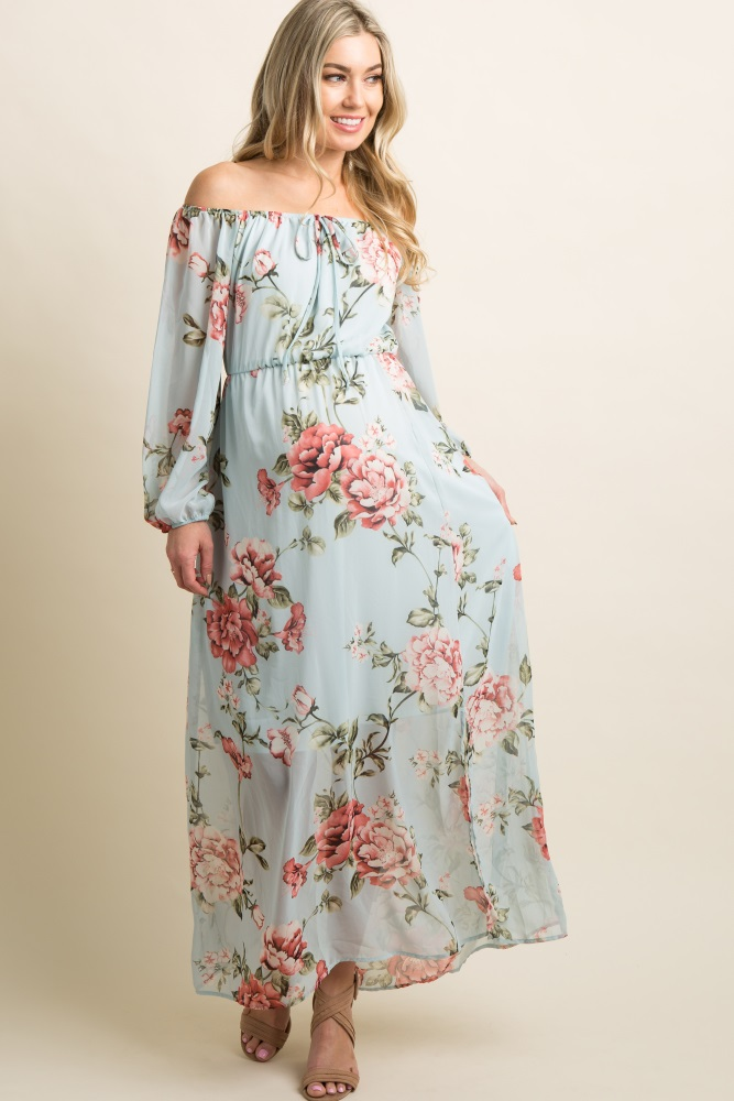 76dc1ffca04 Light Blue Floral Chiffon Off Shoulder Maternity Maxi Dress