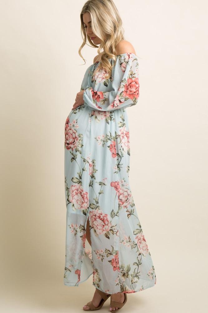 0aabdb37e34a0 Light Blue Floral Chiffon Off Shoulder Maternity Maxi Dress