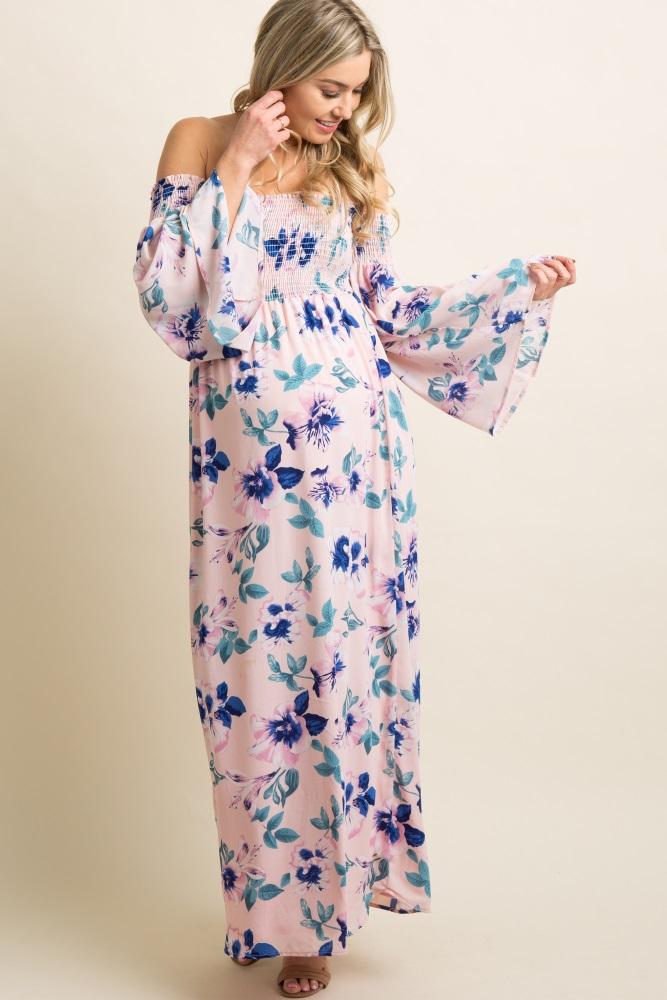 a3c10d05cd Light Pink Floral Smocked Off Shoulder Maternity Maxi Dress