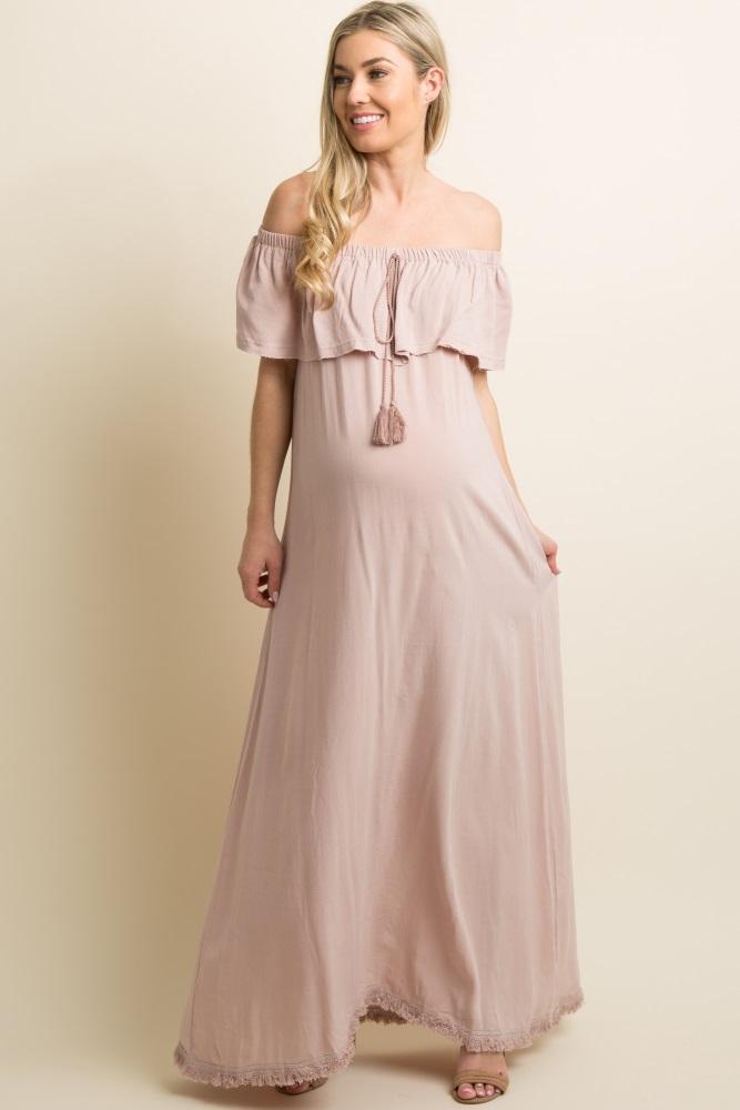 610dae0aafaea Mauve Fringe Trim Tassel Tie Off Shoulder Maternity Maxi Dress