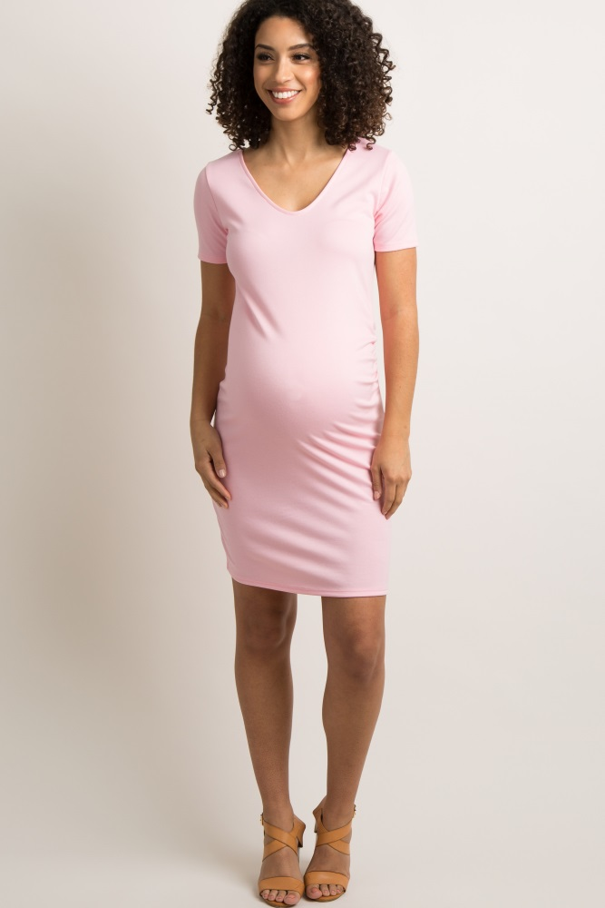 2e48735e261 Light Pink Scoop Neck Fitted Maternity Dress