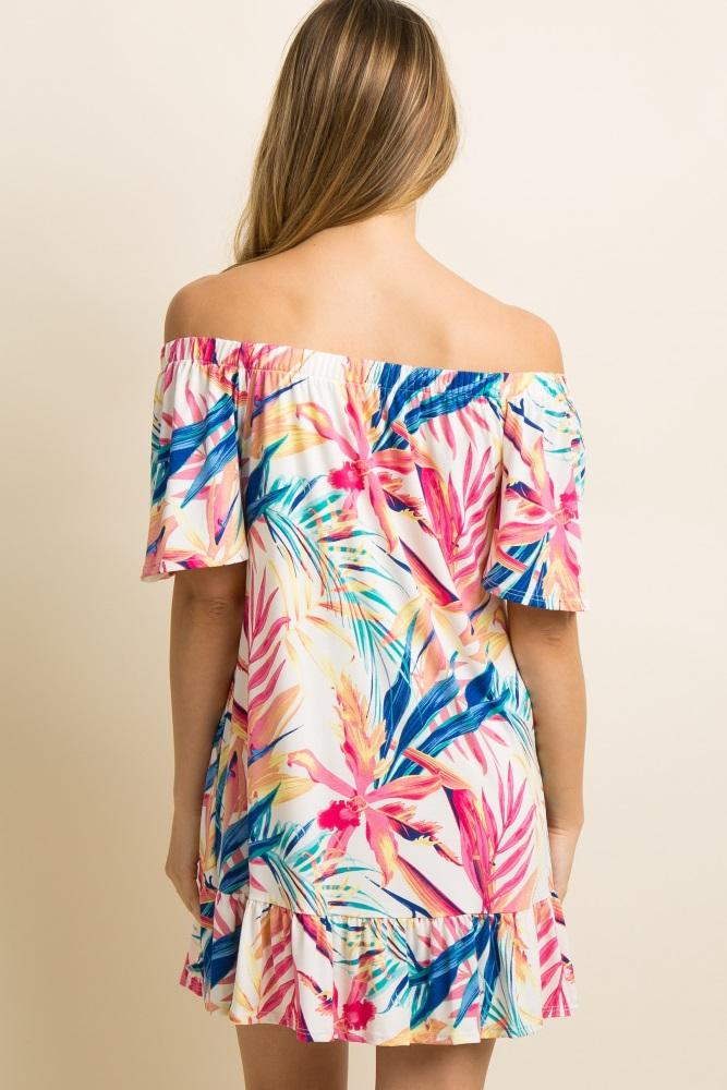 0a32a42e23f Ivory Floral Leaf Print Off Shoulder Maternity Dress