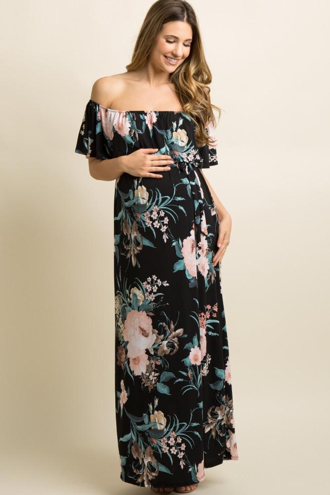 a5aff9deeb657 Black Floral Ruffle Off Shoulder Maternity Maxi Dress