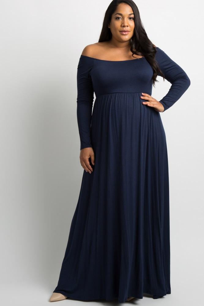 373c005409ff Navy Blue Solid Off Shoulder Maternity Plus Maxi Dress