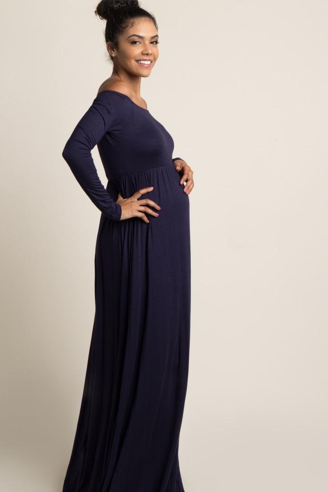 ea68b208a078 Tall Navy Blue Solid Off Shoulder Maternity Maxi Dress