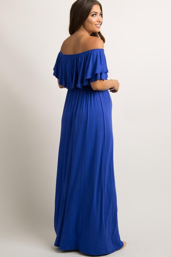 8a0090ee30 Royal Blue Off Shoulder Ruffle Trim Maternity Maxi Dress
