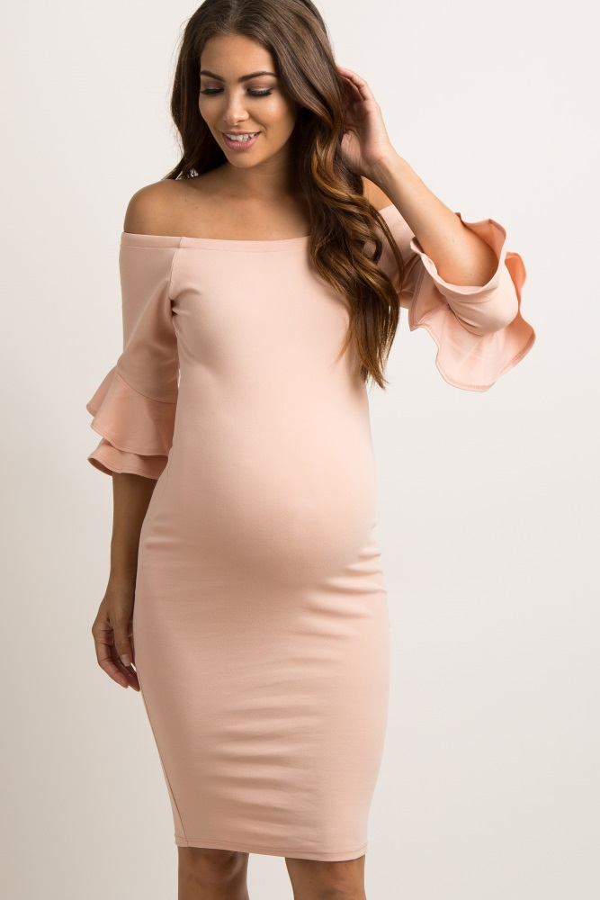 1a5067220bda7 Pink Layered Flounce Sleeve Fitted Maternity Dress