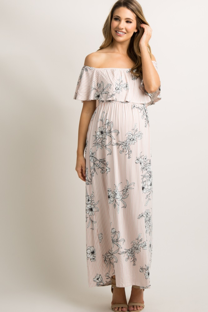 ed14aa18fd36b Light Pink Striped Floral Print Ruffle Off Shoulder Maternity Maxi Dress