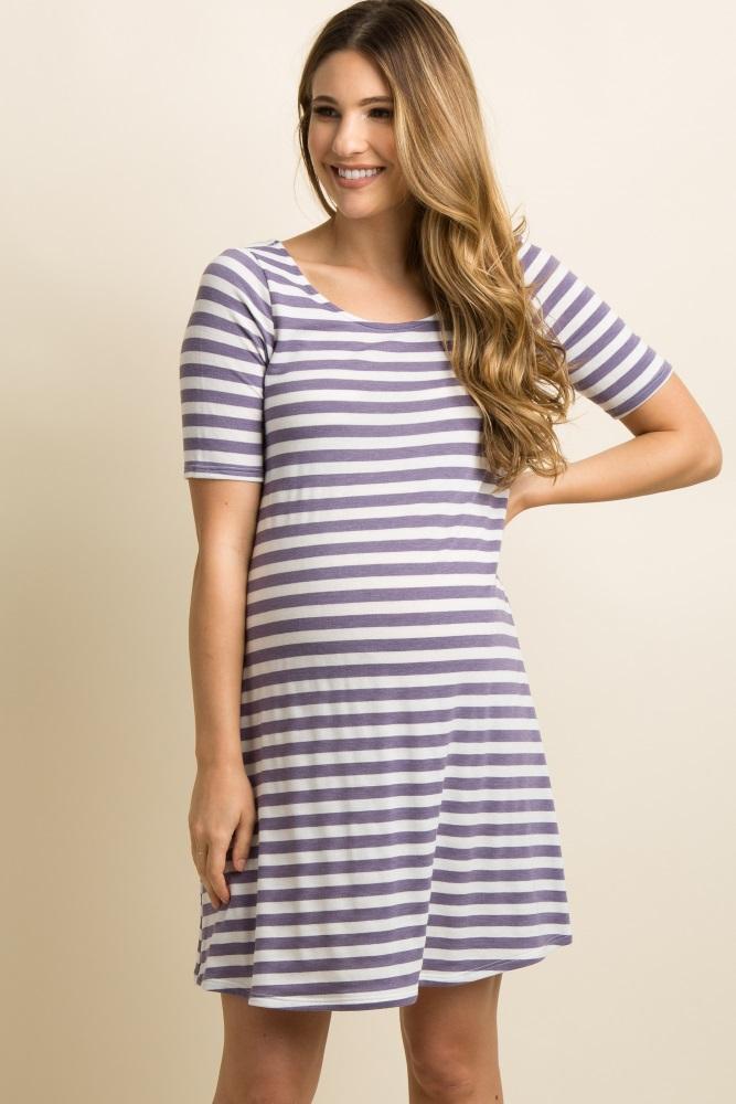 Purple Striped Cutout Maternity Dress