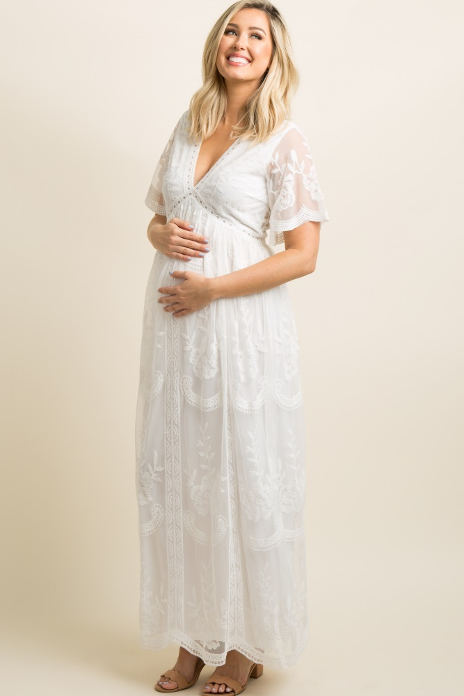 39deec798703a White Lace Mesh Overlay Maternity Maxi Dress