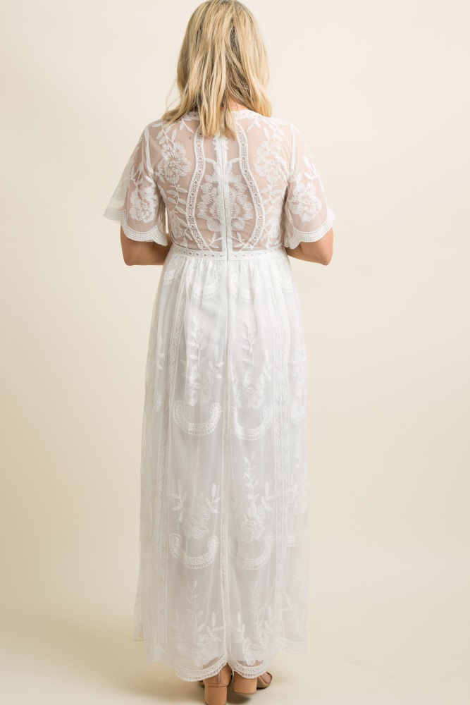e397d4a594 White Lace Mesh Overlay Maternity Maxi Dress