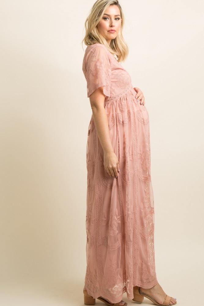 e2a57e7e3f2 Light Pink Lace Mesh Overlay Maternity Maxi Dress