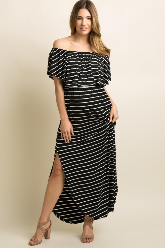 1955370f498c Black Striped Ruffle Off Shoulder Maternity Maxi Dress