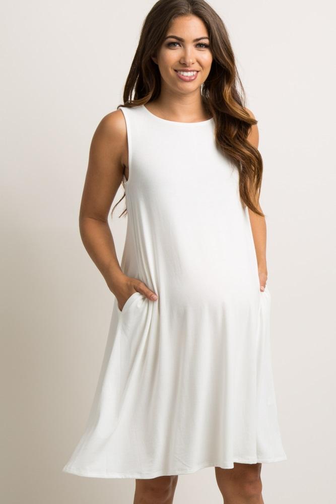 6a3ba07b343 Ivory Sleeveless High Neck Maternity Swing Dress