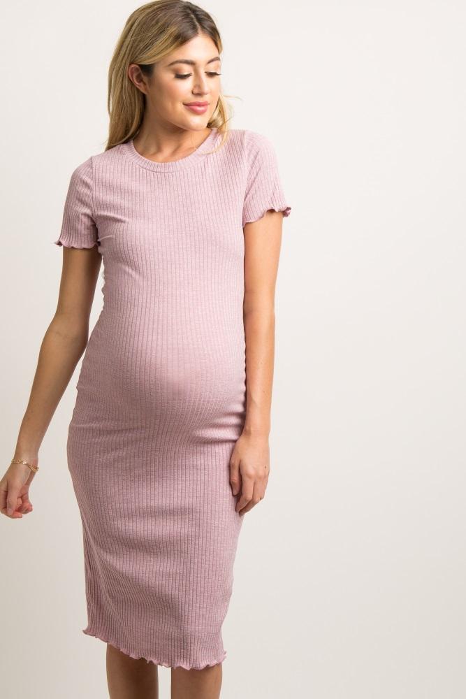 1e0e026324853 Mauve Faded Ribbed Fitted Maternity Midi Dress