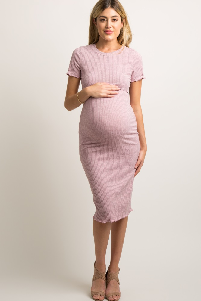 622cb20a45cf8 Mauve Faded Ribbed Fitted Maternity Midi Dress
