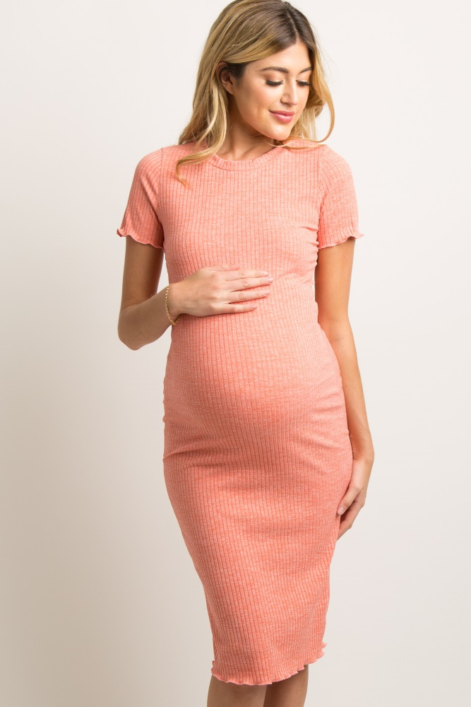 aa06fff5d2d Coral Faded Ribbed Fitted Maternity Dress