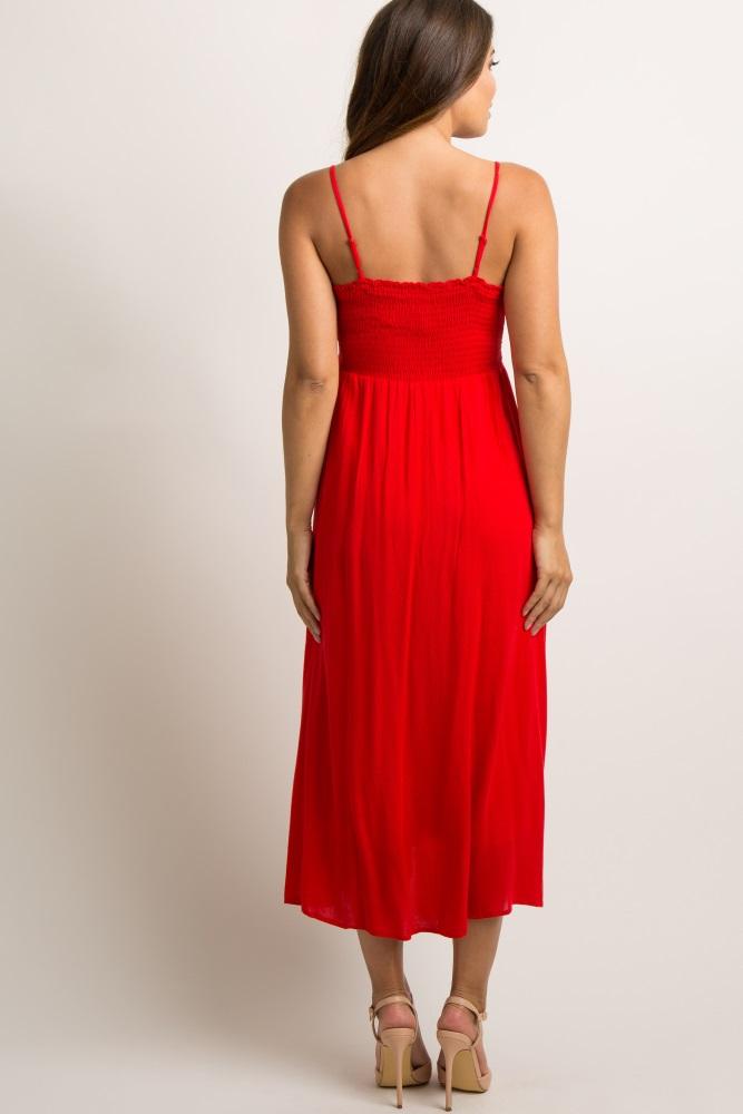 d828d63c9f Red Cutout Tie Button Front Maternity Cami Midi Dress
