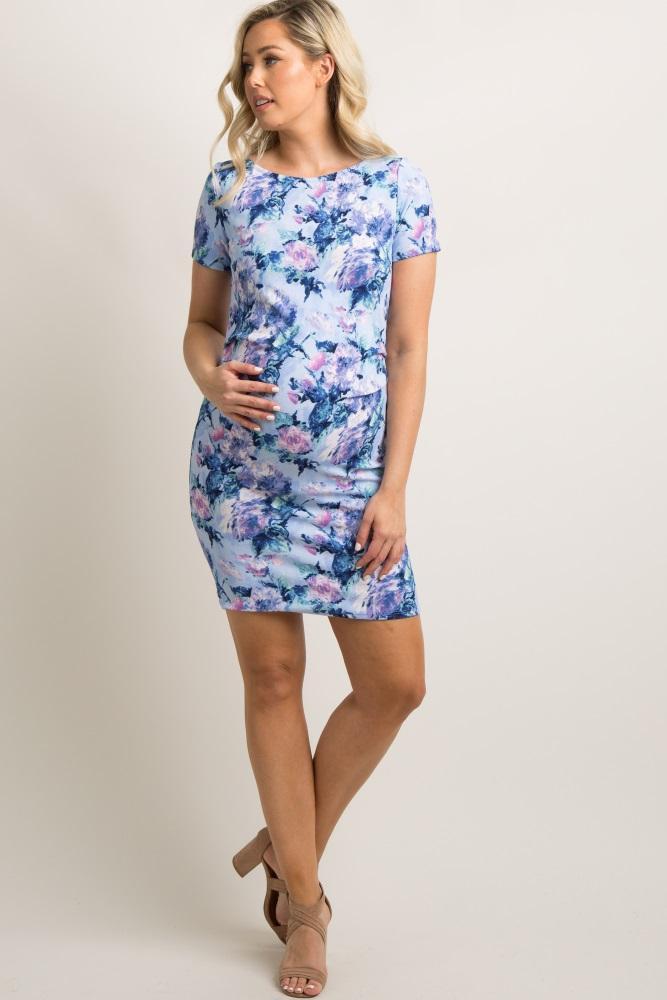 b93745a54c7b1 Blue Floral Fitted Maternity Dress