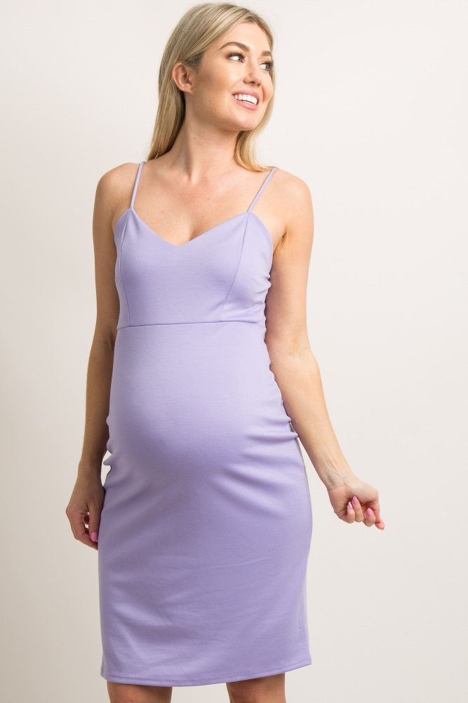 601daf012a7f Purple Sweetheart Fitted Maternity Cami Dress