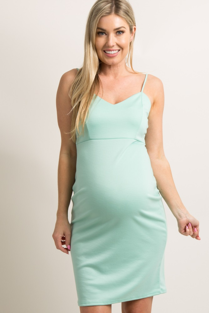 843816c666c76 Mint Green Sweetheart Fitted Maternity Cami Dress