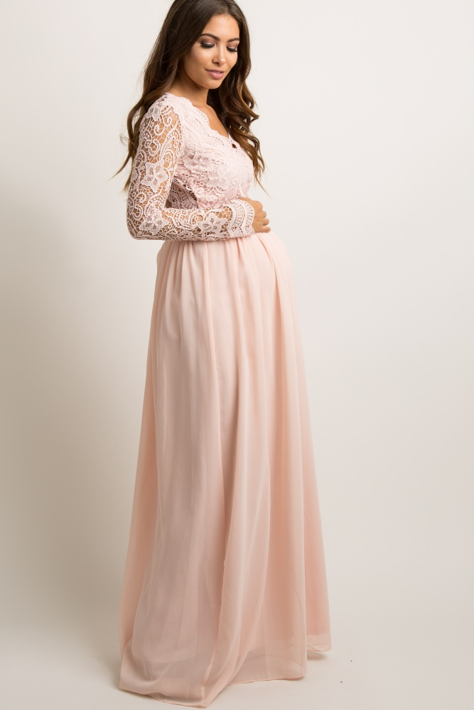88969bf0cd Light Pink Scalloped Crochet Chiffon Maternity Evening Gown
