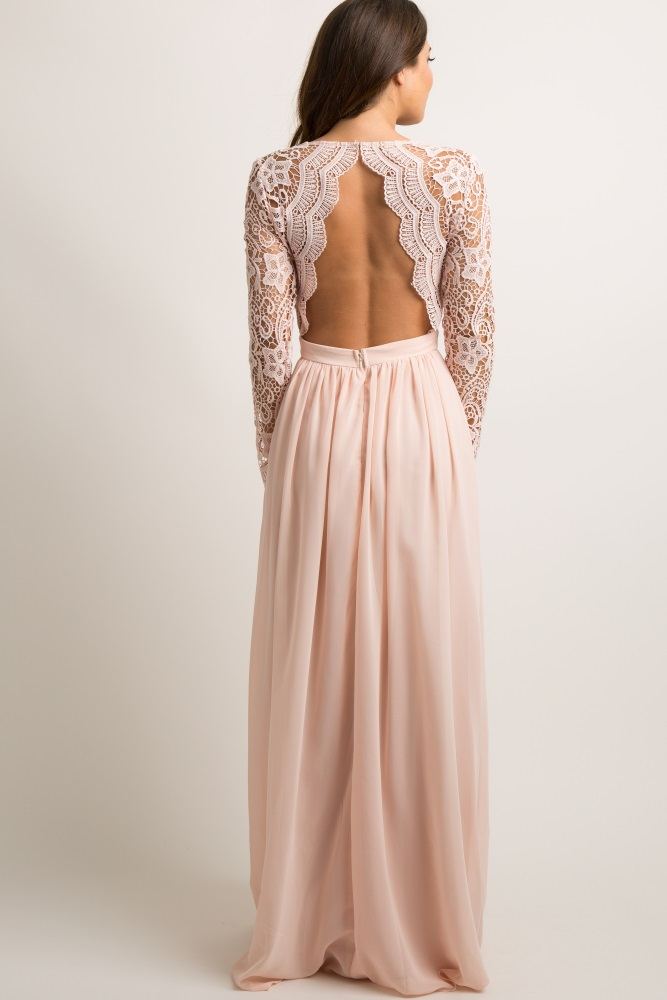 34868cc21119e Light Pink Scalloped Crochet Chiffon Maternity Evening Gown